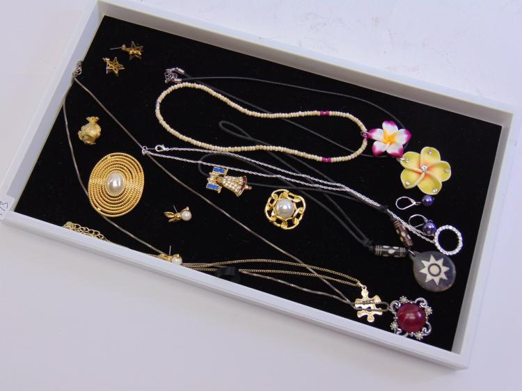 Lot 173: Lot of Costume Jewelry Necklaces Earrings and Brooches