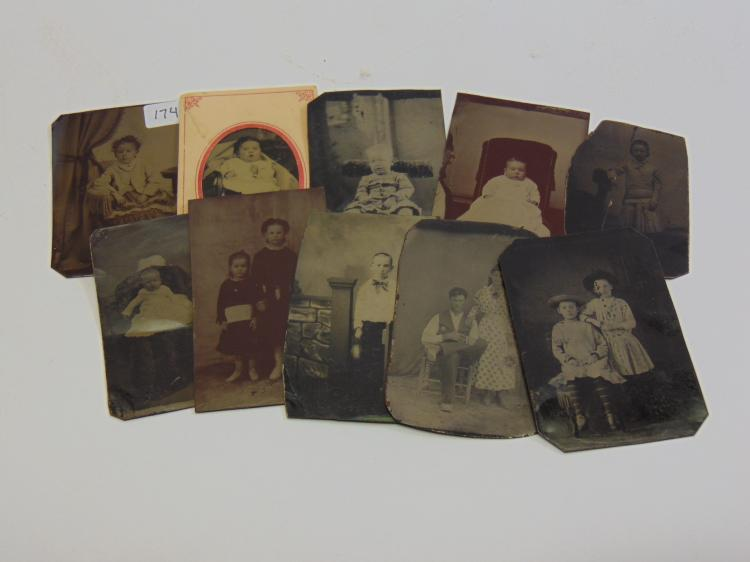 Lot of 10 Antique Family Child and Baby Tintype Photographs