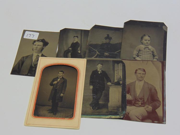 Lot of 7 Antique Man Woman and Child Portrait Tintype Photographs