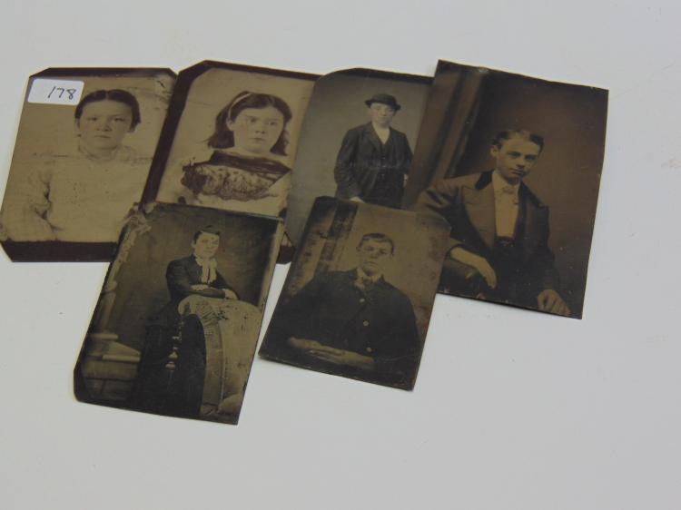 Lot of 6 Antique Boy and Girl Portrait Tintype Photographs