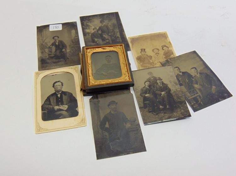 Lot of 6 Antique Portraits of Men Tintype Photographs, 1 Cabinet Card, and 1 Ambrotype in Wood Case