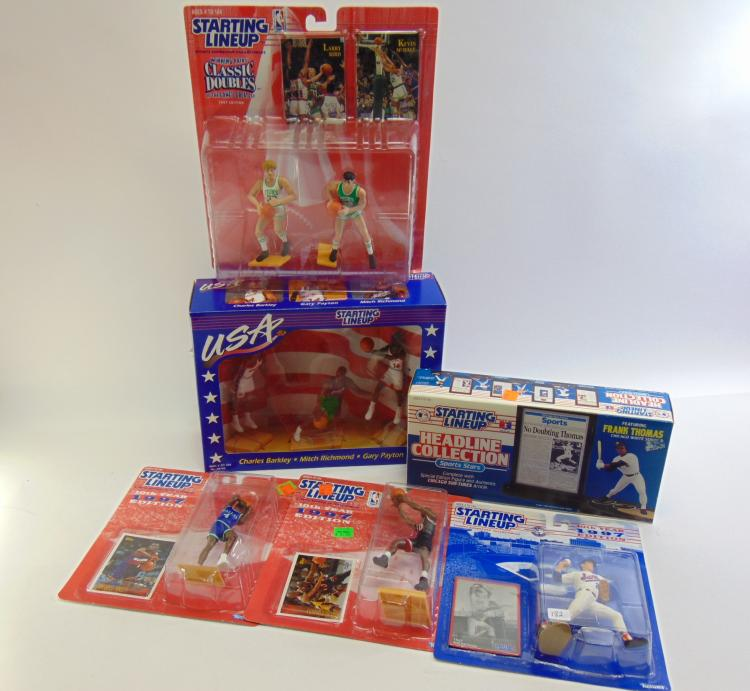 Lot of 6 MLB and NBA Packages of Collectible Figurines Including Nolan Ryan and Larry Bird