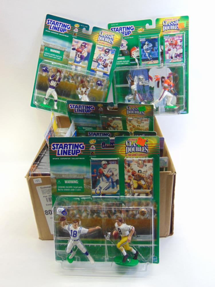 Large Lot of 15 Packages of NFL Figurines Including Emmitt Smith and Peyton Manning