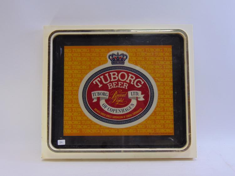 Vintage Thomas Schutz Tuborg Beer Lighted Advertising Sign