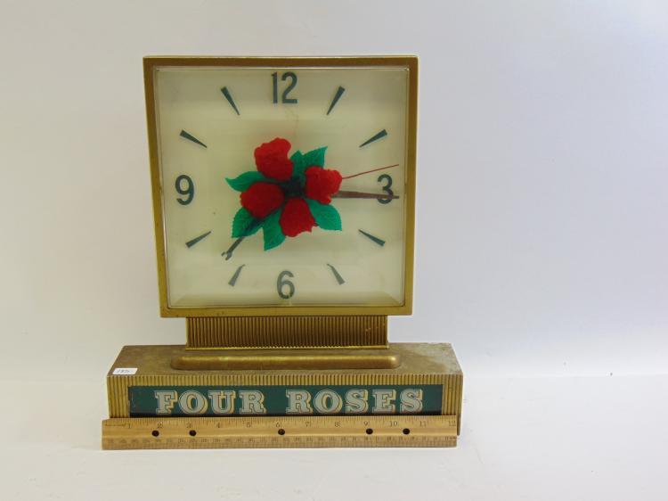 Lot 185: Vintage Four Roses Blended Whiskey Metal Advertising Lighted Clock