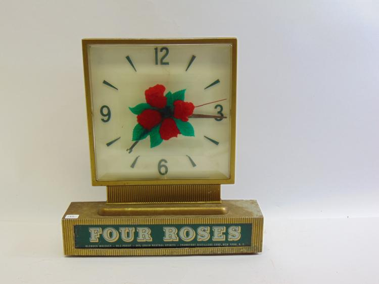 Vintage Four Roses Blended Whiskey Metal Advertising Lighted Clock