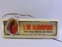 Lot 186: Vintage I. W. Harper Gold Medal Bourbon Lighted Advertising Sign