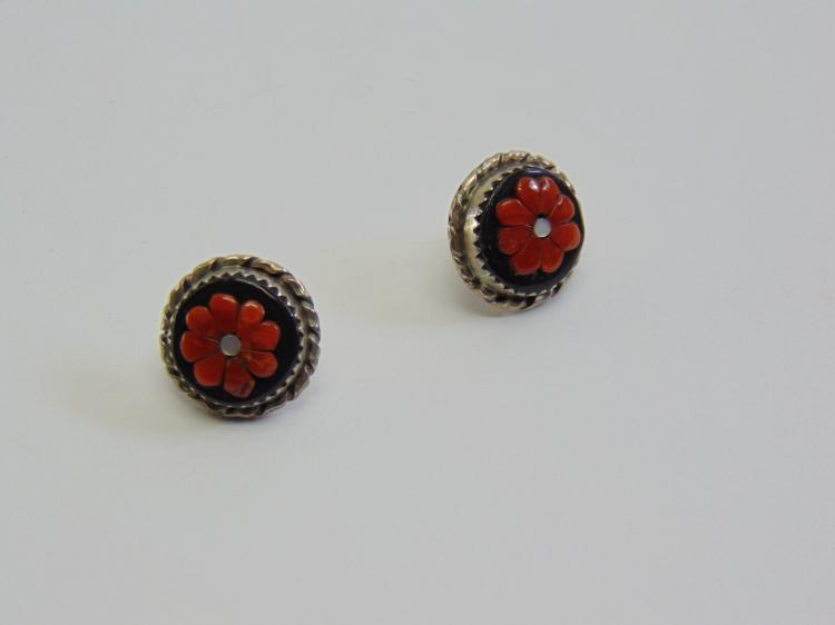 Vintage Hand Made Sterling Silver MOP & Coral on Hematite Flower Post Earrings