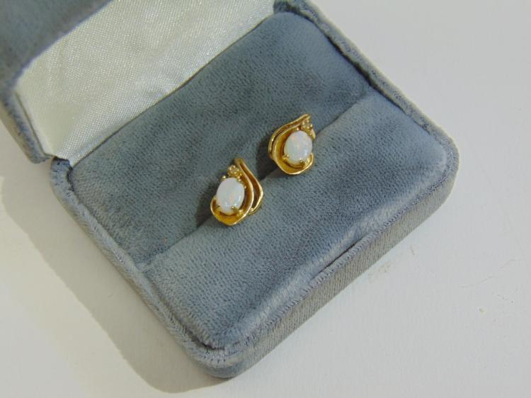 14K Yellow Gold & Opal Post Earrings Signed ATL