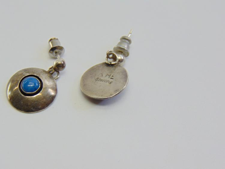 Lot 191: Sterling Silver and Turquoise Navajo Post Dangle Earrings Signed AM