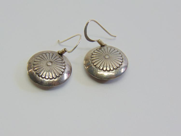 Sterling Silver Hand Chased Navajo? Dangle Earrings w/o Backs