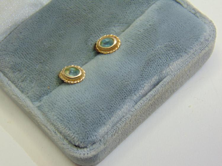 10K Yellow Gold and Aquamarine Post Earrings