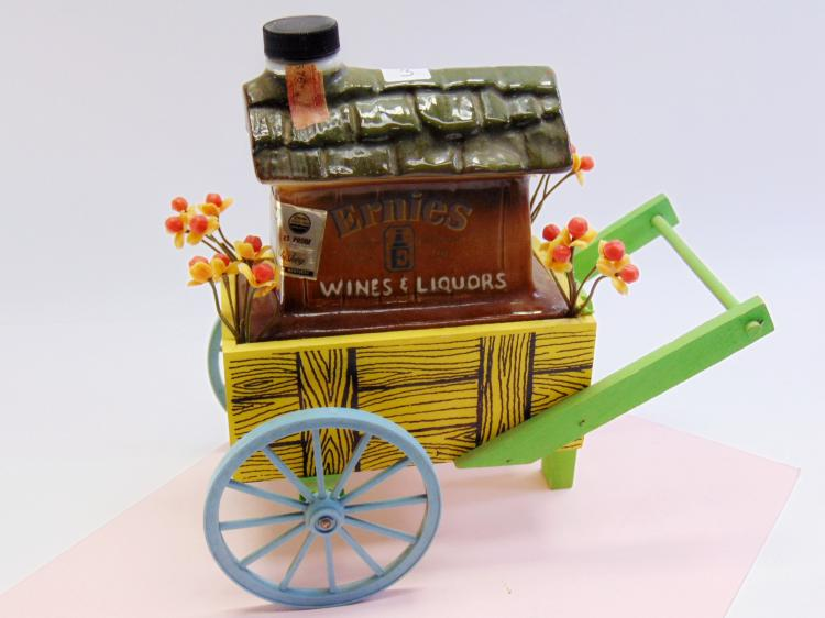 Vintage Jim Beam Ernie's Wines and Liquors Flower Cart Decanter