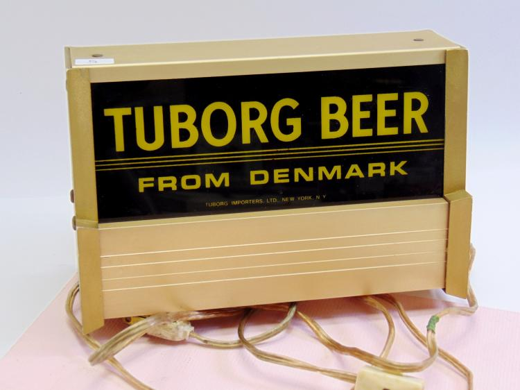 Vintage Signcor Tuborg Beer From Denmark Lighted Advertising Sign