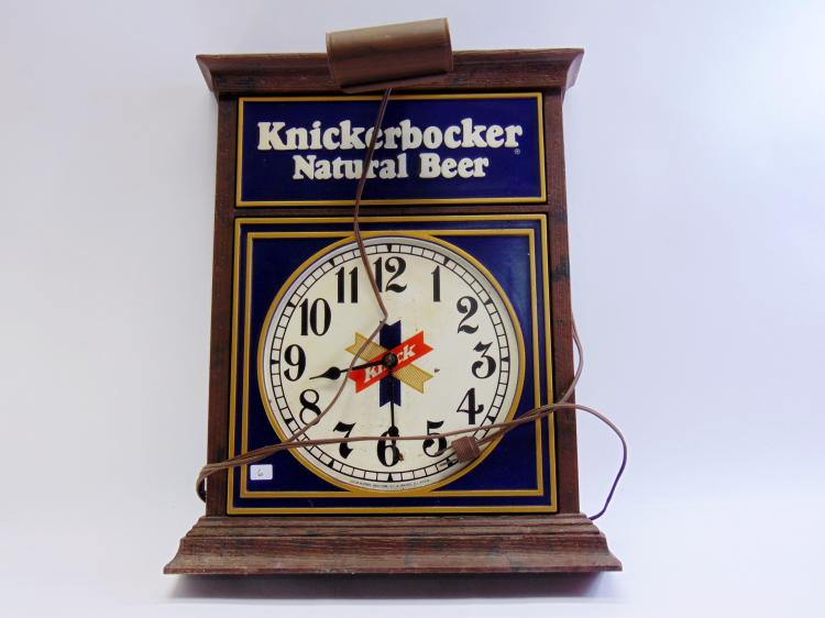Vintage Knickerbocker Natural Beer Lighted Advertising Clock Sign