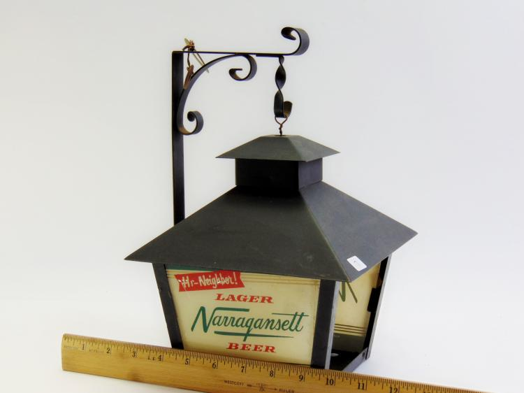 Lot 7: Vintage Hi Neighbor Narragansett Lager Beer Wrought Iron Advertising Light