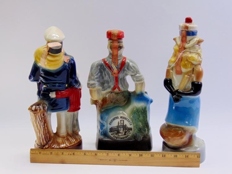 Lot 10: Lot of 3 Vintage Jim Beam Foxy Lady Paul Bunyan & Captain Decanters