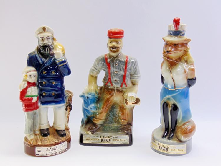 Lot of 3 Vintage Jim Beam Foxy Lady Paul Bunyan & Captain Decanters