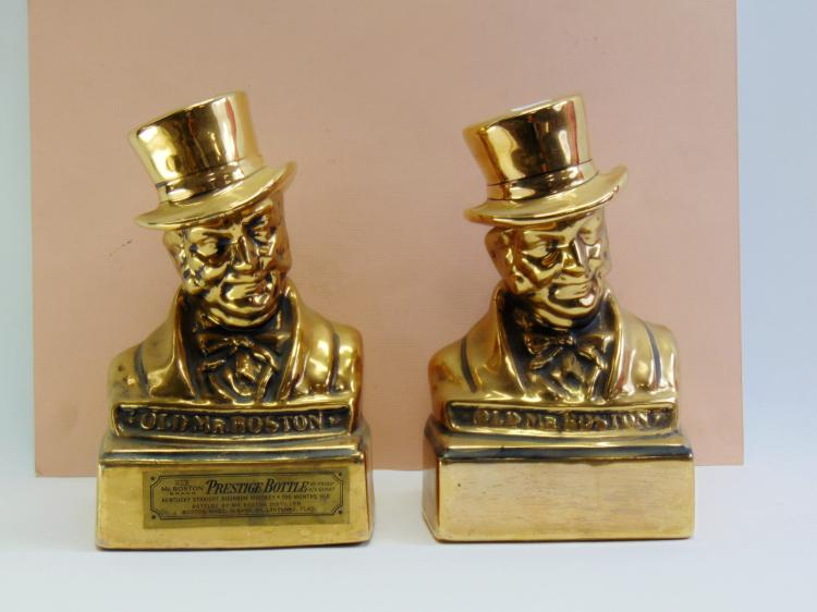 Lot of 2 Vintage Old Mr. Boston Prestige Bottle Decanters