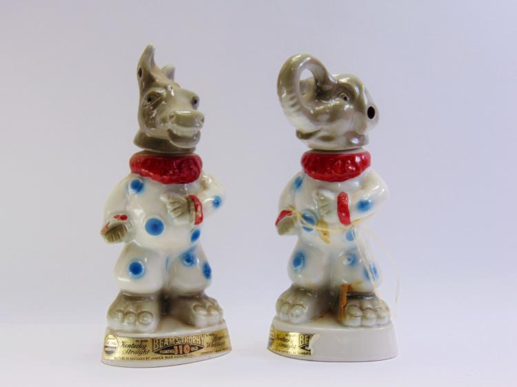 Lot of 2 Vintage Jim Beam Democrat Donkey & Republican Elephant Decanters