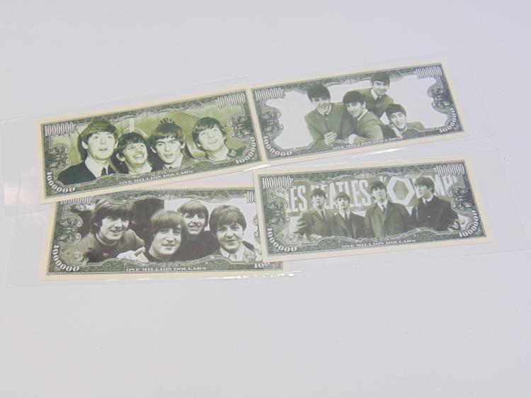 Lot 19: Lot of 4 Beatles One Million Dollar Bills Featuring John Lennon Ringo Starr Paul McCartney & George Harrison