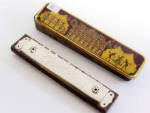 Lot 21: Vintage Opera Harmonica and Lithographed Tin Case Made in US Zone Germany