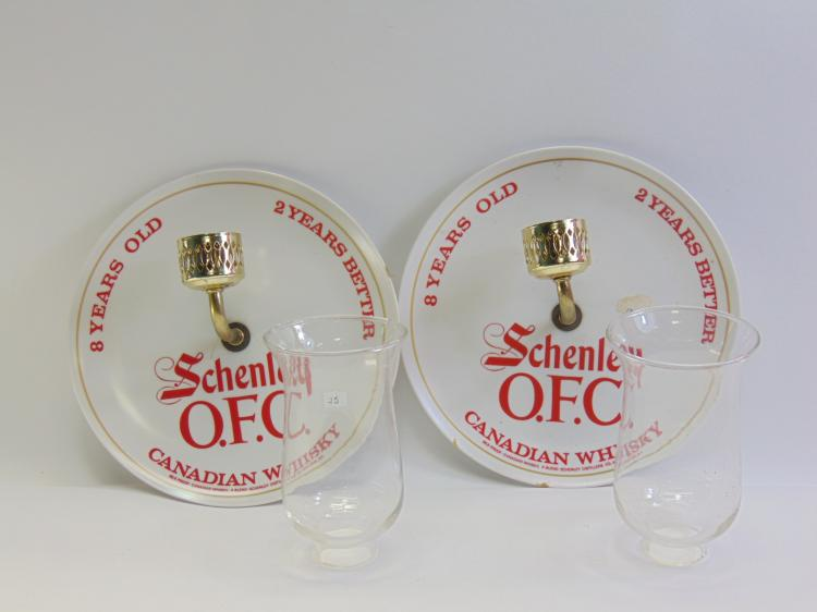 Lot 25: Vintage Pair of Schenley O.F.C. Canadian Whiskey Advertising Wall Sconce Lights