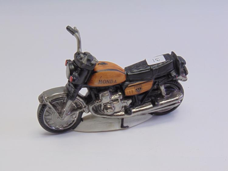 Vintage Unusual Famous Firsts Honda Motorcycle Miniature Whiskey Decanter