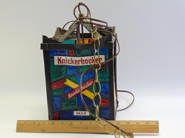"Lot 32: Vintage Knickerbocker Beer ""Stained Glass"" Hanging Chandelier Advertising Light"