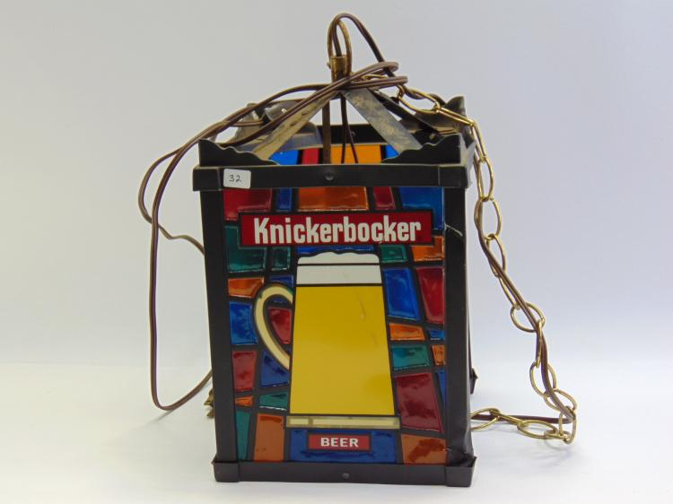 "Vintage Knickerbocker Beer ""Stained Glass"" Hanging Chandelier Advertising Light"