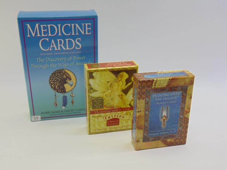Lot of 3 New Age Healing Medicine Animals Angels & Fairies Oracle Cards