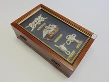 Lot 40: Nautical Knot and Mayflower Wooden Jewelry Storage Shadowbox