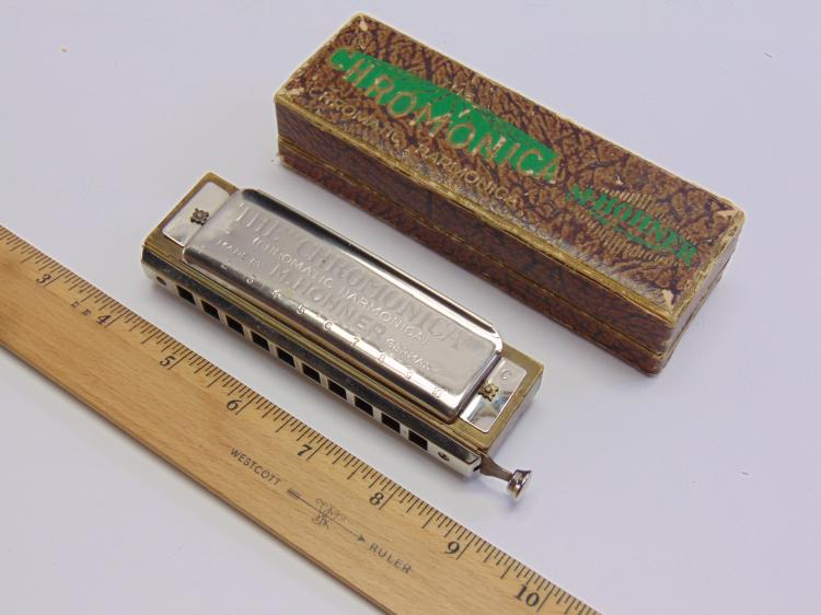 Vintage M Hohner Chromonica German Made Chromatic Harmonica In Box