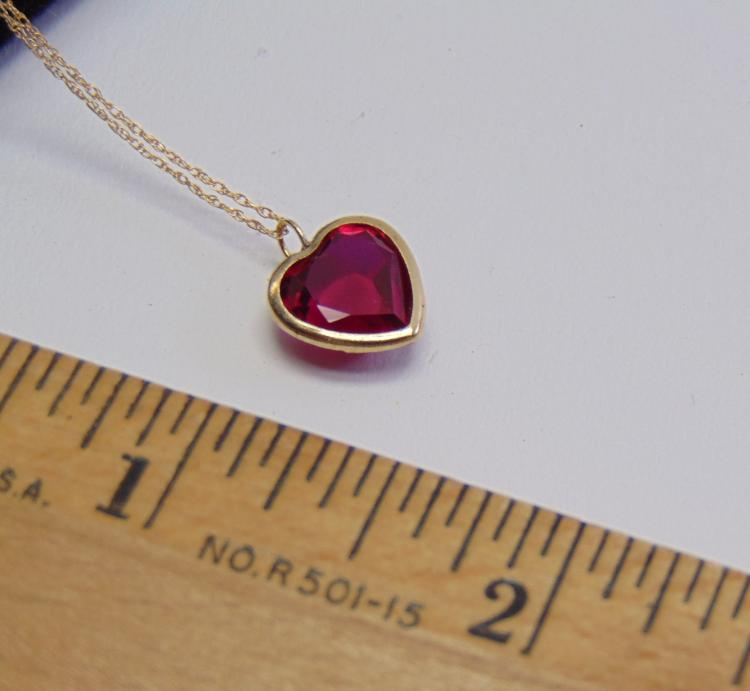 "1.4 Gram 10K Fine Yellow Gold 16"" Chain & Garnet Heart Pendant"