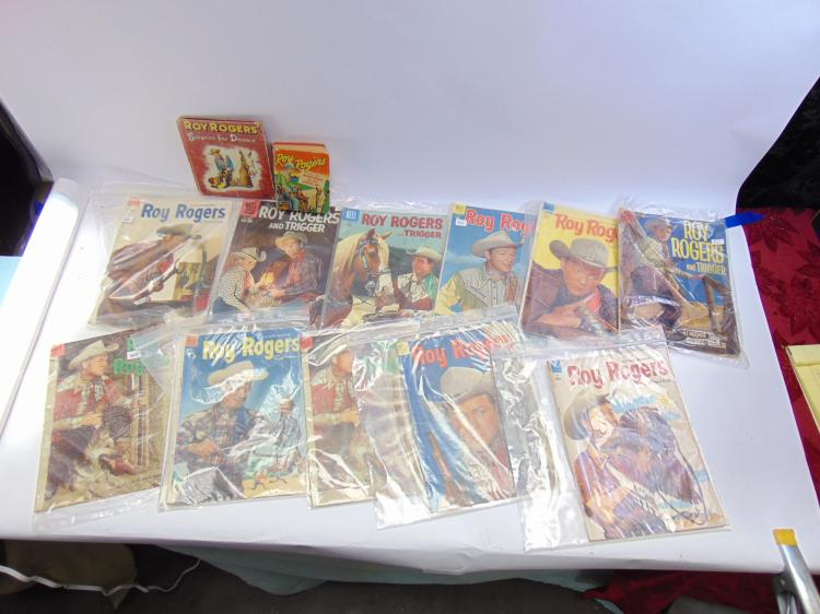 Lot of 11 Vintage Dell 10 Cent Roy Rogers Comic Books and 2 Whitman Books