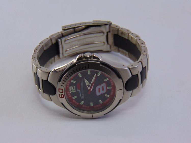 Lot 198: Dale Earnhardt Jr No 8 Nascar Racing Stainless Steel 100 ft. Water Resistant Watch