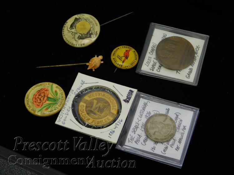 Lot of Vintage Commemorative Tokens Buttons and Hat Pin