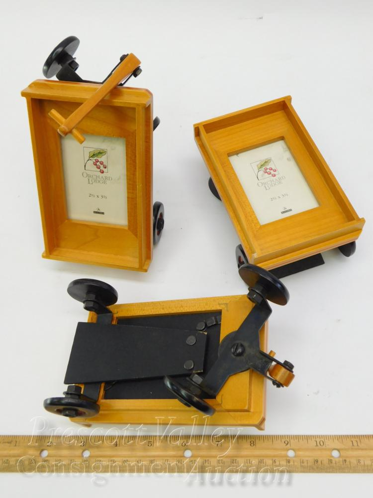 Lot 7: Lot of 3 Malden Orchard Lodge Wooden Wagon Picture Frames