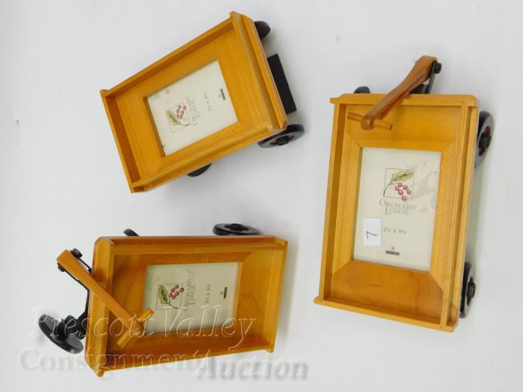 Lot of 3 Malden Orchard Lodge Wooden Wagon Picture Frames