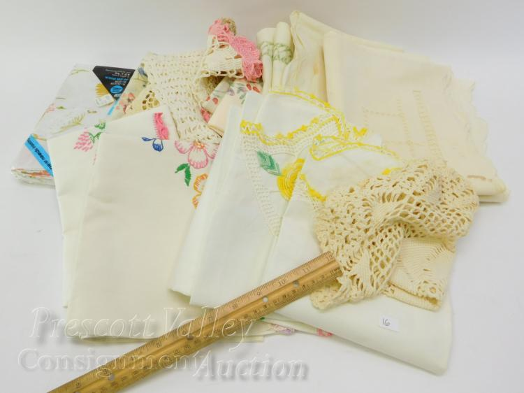 Lot 16: Lot of Vintage Hand Stitched and Crochet Table Decorations and Pillow Cases