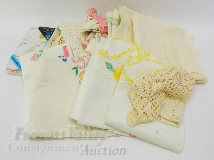 Lot of Vintage Hand Stitched and Crochet Table Decorations and Pillow Cases