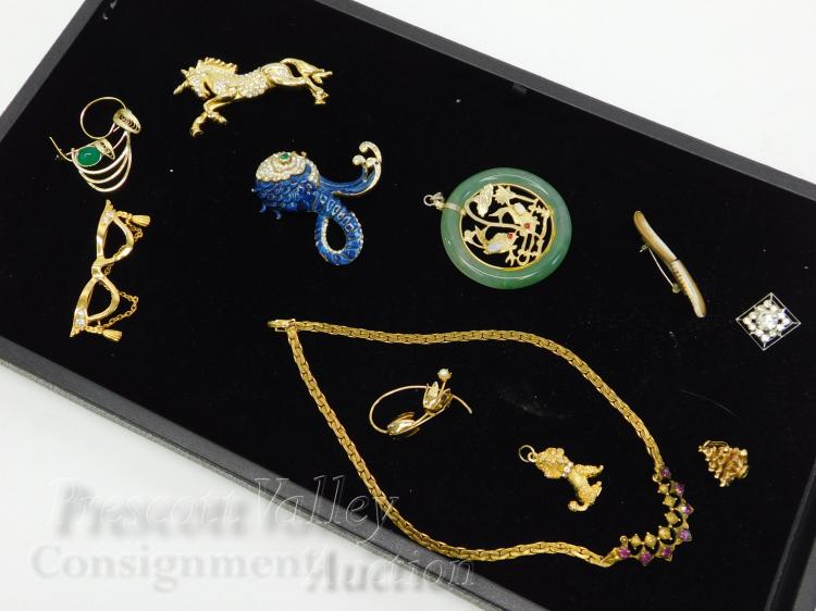 Lot of Vintage Ocean and Animal Gold Tone Costume Jewelry