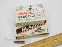 Lot 23: Lot of 3 Winchester Wildcat 22 and CCI High Velocity Long Rifle 50 Round Boxes of Ammunition