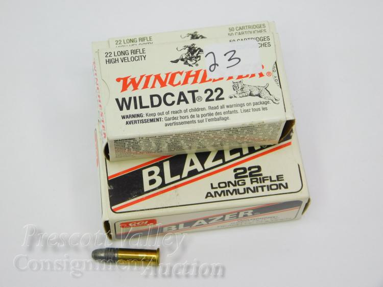 Lot of 3 Winchester Wildcat 22 and CCI High Velocity Long Rifle 50 Round Boxes of Ammunition