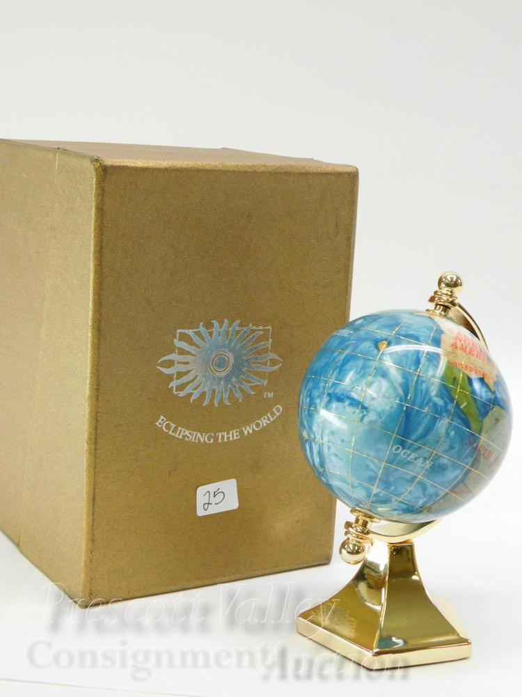 Eclipsing the World Brass Enamel and Inlaid Stone Desk Globe