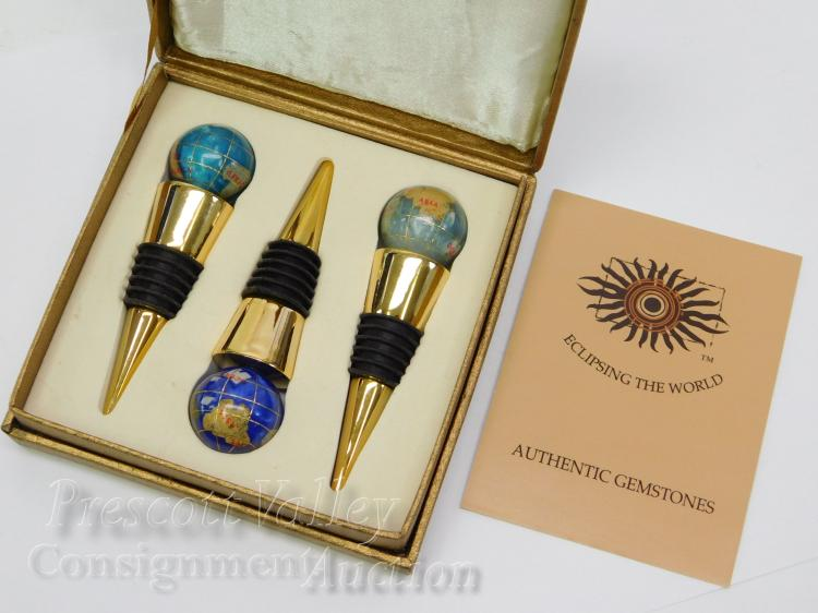 Eclipsing the World Brass Enamel and Inlaid Gemstone Globe Wine Bottle Stopper Set of 3