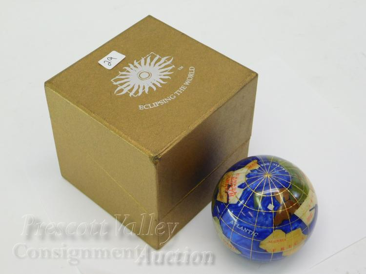 Eclipsing the World Enamel and Inlaid Gem Stone Globe Paperweight