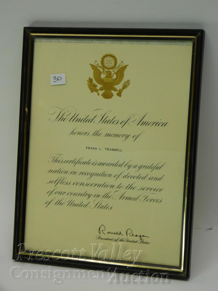 The United States Honors the Memory of Frank L. Trammell Letter Signed by Ronald Reagan