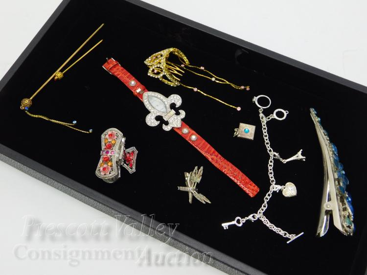 Lot of Rhinestone Costume Jewelry Hair Clips Watch Stick Pins and Pendant