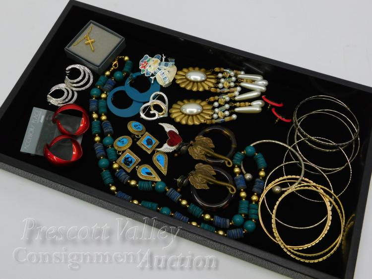 Lot of Costume Jewelry Bangle Bracelets Necklaces Earrings and Brooches